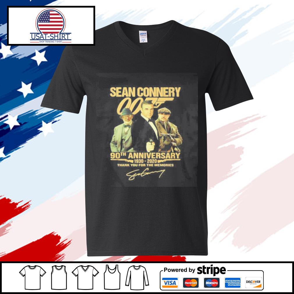 Sean Connery 007 90th Anniversary 1930 2020 Thank You For The Memories Signature s v-neck-t-shirt