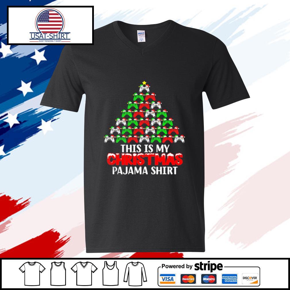 This Is My Christmas Pajama Santa Hat Joystick Tree Gamer s v-neck-t-shirt
