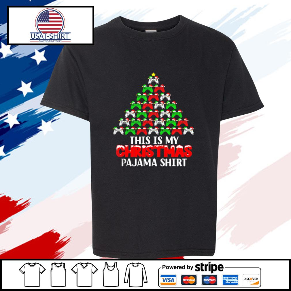 This Is My Christmas Pajama Santa Hat Joystick Tree Gamer s youth-tee